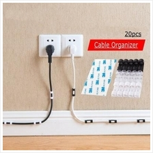 20pcs Cable Clip Desk Tidy Wire Drop Lead USB Charger Holder