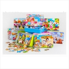 Wooden Toy Jigsaw Puzzles for Children in Iron Tin Box Case - 60 Pcs