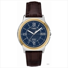 TIMEX T2P521 (M) Bank Street Date leather strap blue brown