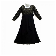 Kids Jubah Moden /  Kurung - Ages 3Y to 8Y (Black Gold)