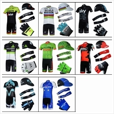 16Team cycling jerseys set men peloton gel padded short glove bandana