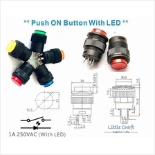 16mm Push ON Button With LED (Red, Yellow, Blue, Green)