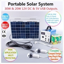 20W & 30W 12V PORTABLE SOLAR LIGHT  & CHARGE SYSTEM KIT PANEL