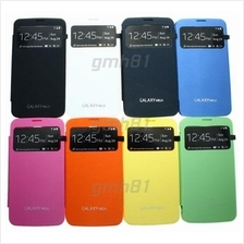 Samsung Galaxy S4 mini Mega 6.3 5.8 Note 2 3 S-View Flip Cover Case AA