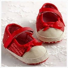 Kids / Baby/ Bayi Shoes/Kasut for ages 1M - 12M (Glitter Red)