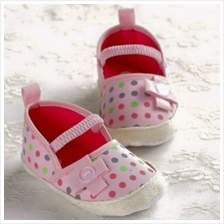 Kids / Baby/ Bayi Shoes/Kasut for ages 1M - 12M (Pink Polka)