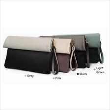 Women Lady 2-Tone Color Clutch Bag Wallet Purse Envelope