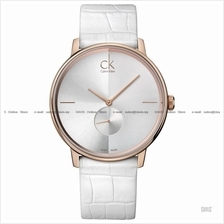 Calvin Klein K2Y216K6 Men Accent Small-second Leather White Rose Gold