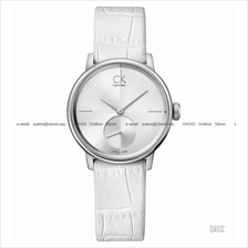 Calvin Klein K2Y231K6 Women's Accent Small-second Leather Strap White