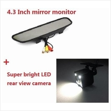 LED Car Reverse HD Camera With 4.3 inch Mirror Monitor wired