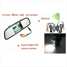 3 in 1 Wireless Car Reverse Kit 4.3' Mirror Monitor + Camera