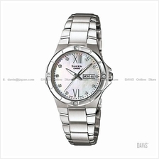 CASIO SHE-4022D-7A SHEEN swarovski day-date SS bracelet white MOP