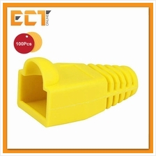 100 Pcs RJ45 Network Cable Lead Connector Cover Cap Boot - Yellow