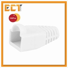 100 Pcs RJ45 Network Cable Lead Connector Cover Cap Boot - White