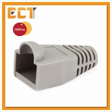 100 Pcs RJ45 Network Cable Lead Connector Cover Cap Boot - Light Grey