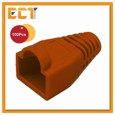 100 Pcs RJ45 Network Cable Lead Connector Cover Cap Boot - Brown