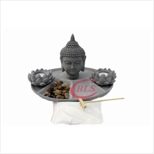 POLYRESIN BUDDHA STATUE DECOR HY081 - CEMENT GREY COLOR