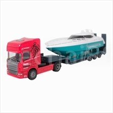 Affluent Town 1:64 Die-Cast Scania Carrier Trailer Truck  & Boat Red Color Mod