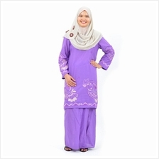 Cotton  & Silk - Baju Kurung Moden - Cotton Embroidery - 1184 - D7 (Light Purp)