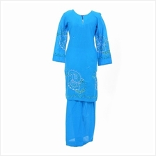 Cotton  & Silk - Baju Kurung Moden - Cotton Embroidery - 1184 - D1 (Dark Blue))