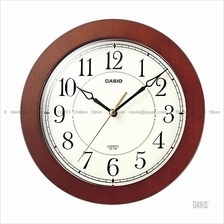 CASIO IQ-126-5 analogue sweep second round wall clock white brown wood
