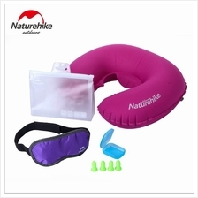 U Shape Inflatable Neck Air Pillow with Eye Mask/Ear Plugs Travel Kits