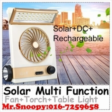 Multi Function Solar Powered Fan With 30 Led Table Light+Torch Light