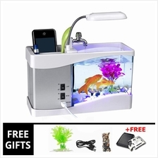 +GIFT! USB DESKTOP MINI LED AQUARIUM FISH TANK STATIONARY CASE & CLOCK