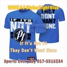 WWE WWF T Shirt (AJ P1 Light Blue) WRESTLING GUSTI