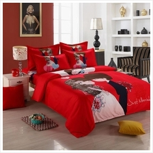 Chinese Wedding Red Cute Cartoon Fitted Bedsheet Bed Sheet Bedding Set