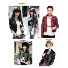 Korean Style Woman/Women Ladies Clothing PU Leather Lady Short Jacket)