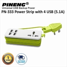 100% Original PINENG PN-333 UK Extension Socket with 4 USB Ports  & Universal