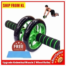 Top Quality 2 Wheels Ab Roller Abdominal Muscle AB Fitness + FREE MAT