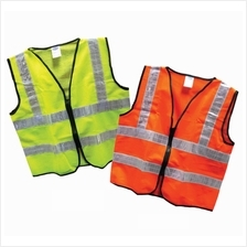 SAFETY VEST 120G ZIP GREEN (DOUBLE LINE REFLECTIVE) (100)