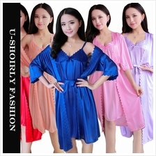 U-SHOIRLY Ice Silk Robe Sleepwear Nightgown Lingerie 2pcs set )