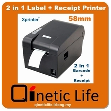 Xprinter XP-235B 2-in-1 58mm Thermal Barcode Label and Receipt Printer
