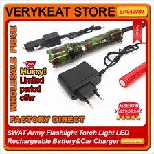 SWAT Army Flashlight Torch Light LED Rechargeable Battery&Car Charger