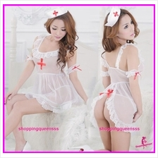 White Nurse Uniform Back Open Dress Costume Sleepwear Sexy Lingerie