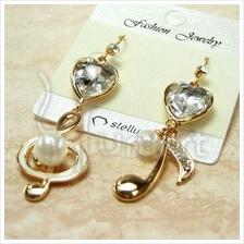 Music Notes with Heart Gold-Plated Diamond Pearl Earrings
