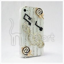 Musical Notes handmade AA rhinestone Apple IPHONE 4/4S Case