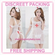 Sexy Lingerie White Nurse Uniform Open Butt Dress Costume Sleepwear