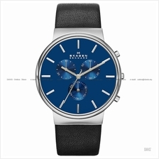 SKAGEN SKW6105 Men's Ancher Chronograph Leather Strap Blue