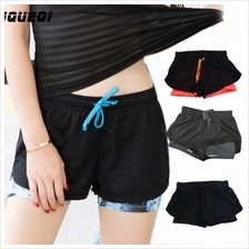 High Quality sport jogging gym yoga pant shorts dual layers)