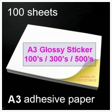100pcs A3 Sticker Paper (Glossy/Mirrorkote) Self-Adhesive Print