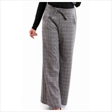 Lily Palazzo Checkered Pant S385-Black)