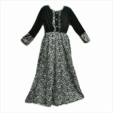 Kids Jubah Dress Moden / Kurung / Peplum (5Yrs to 9 Yrs) - Black White