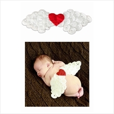 Knitted Wool Angel Wings Baby Photography Session Props - White+Red