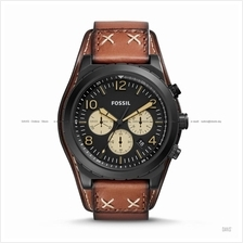 FOSSIL CH3066 Men's Oakman Chronograph Leather Strap Black Brown