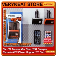Car FM Transmitter Dual USB Charger Remote MP3 Player Support TF Card