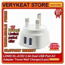 LDNIO DL-AC63 2.4A Dual USB Port AC Adapter Travel Wall Charger(3-pin)